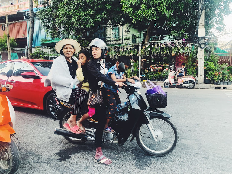Cambodian family on motorbike